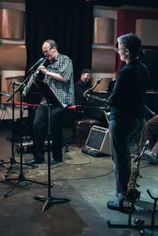 David Milne - soprano sax, Jesse Mueller - piano, Joan Hutton - tenor sax